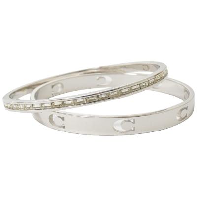 COACH 簡約C字LOGO+方鑽款雙手環(銀)
