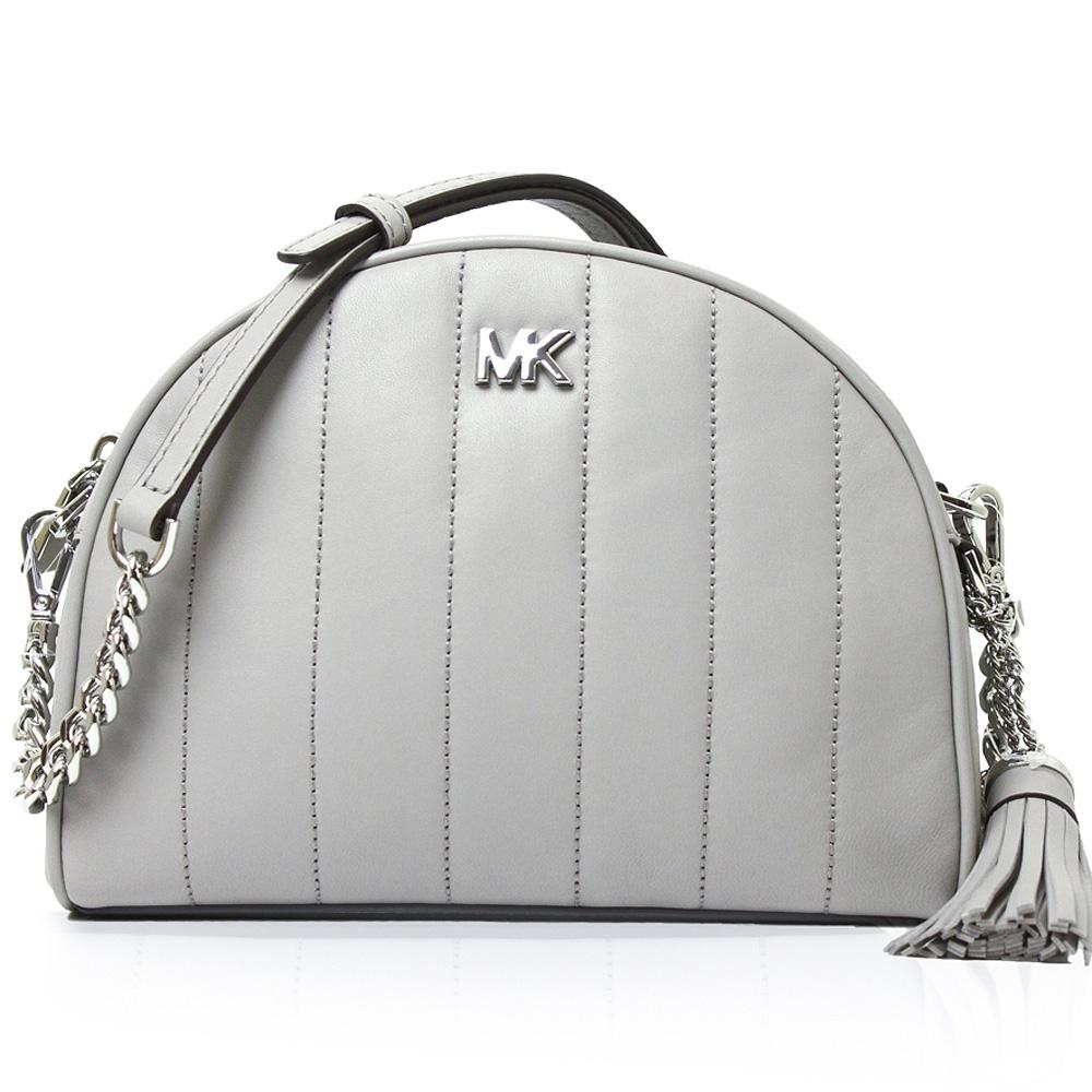 Michael Kors 金屬MK標誌皮革半月斜背(灰)