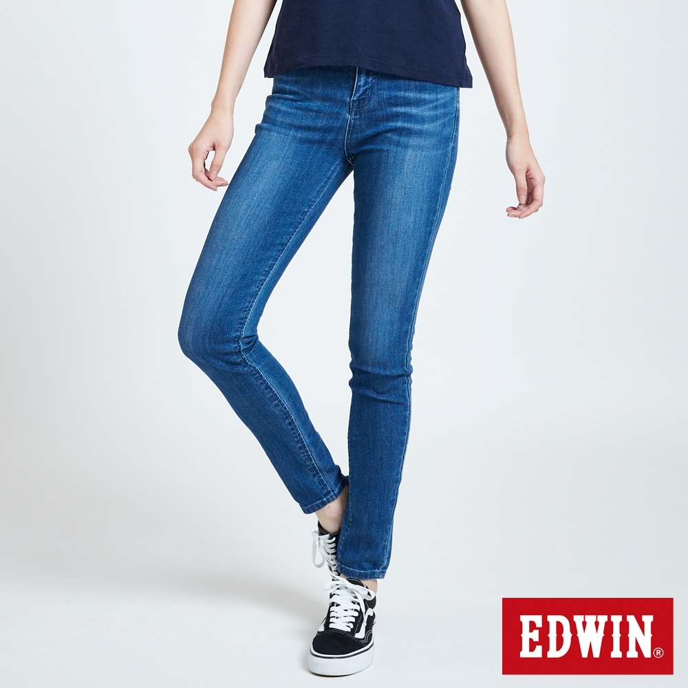 EDWIN EDGE LINE SKINNY 超彈 窄管牛仔褲-女-中古藍