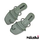 Miaki-拖鞋時尚韓風平底涼鞋-綠