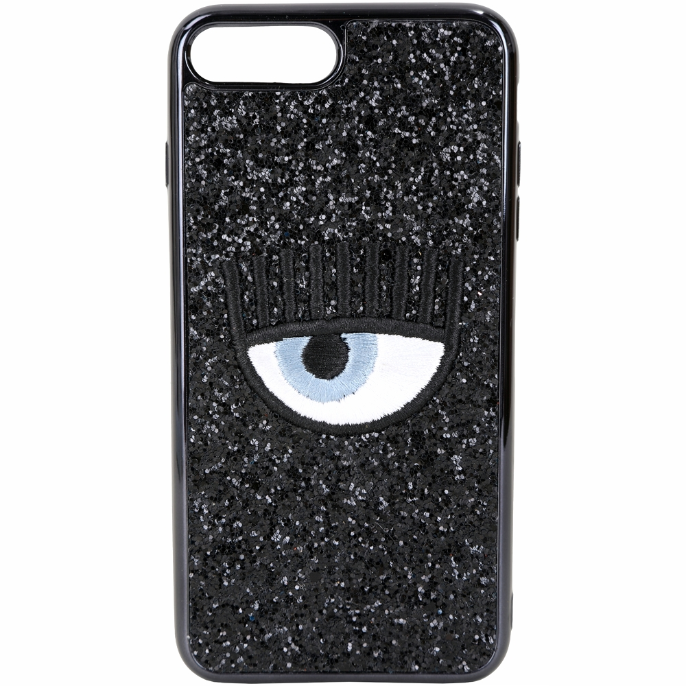 Chiara Ferragni i7/8 PLUS 刺繡眼睛黑色亮片手機殼(5.5吋)