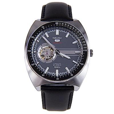 SEIKO 錶面簍空簡約線條款 5號機械皮革男錶 (SSA335K1)-藍灰x44mm
