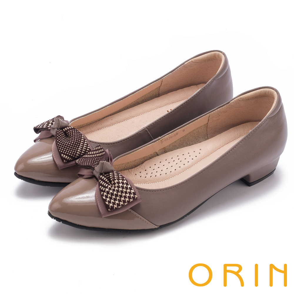 ORIN 氣質甜美風 雙皮質蝴蝶結尖頭低跟鞋-可可