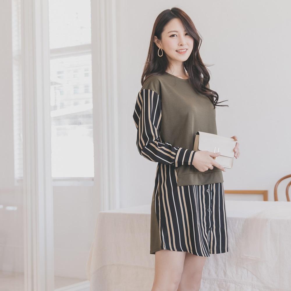 知性條紋韓系假兩件襯衫洋裝/長上衣-OB大尺碼 product image 1