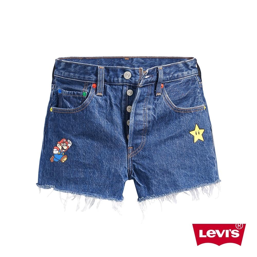 Levis X Super Mario限量聯名 女款 501排釦牛仔短褲 瑪莉歐印花 專屬皮牌 不收邊
