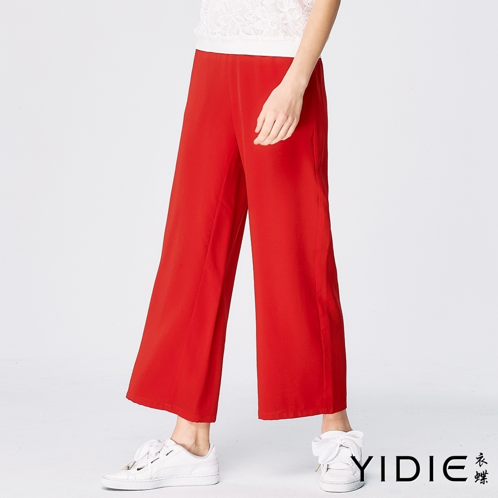 YIDIE衣蝶 純色蕾絲拼接九分寬褲套裝-白/紅(上下分開販售) product image 1