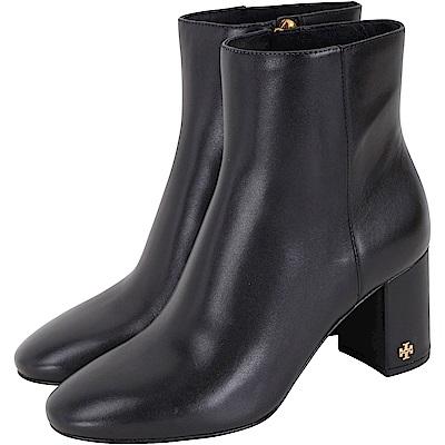 TORY BURCH Brooke Bootie 雙T飾小牛皮粗跟短靴(黑色)