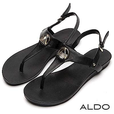 ALDO 原色真皮T字金屬夾腳平底涼鞋~尊爵黑色