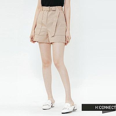 H:CONNECT 韓國品牌 女裝-休閒腰帶棉麻短褲-卡其