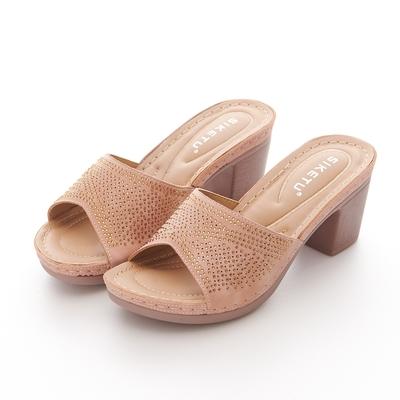 JMS-時尚閃耀點點鑽飾厚底粗高跟涼拖鞋-粉色
