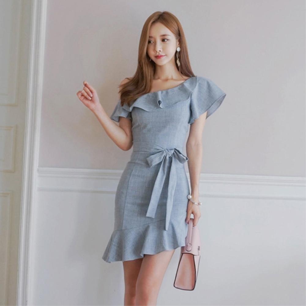DABI 韓國風氣質優雅包臀露肩收腰顯瘦修身荷葉邊短袖洋裝