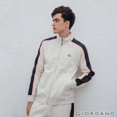 GIORDANO 男裝G-MOTION品牌LOGO運動外套 - 68 花紗月巖淺花灰