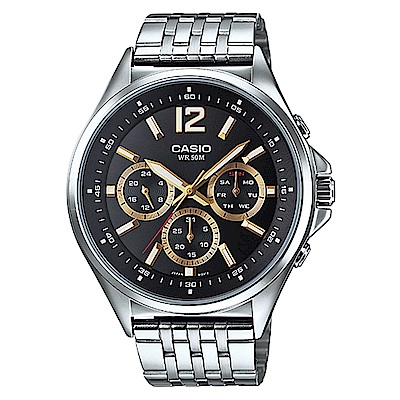 CASIO 三針三眼魅力俐落指針腕錶(MTP-E303D-1A)黑面X金時針/47mm