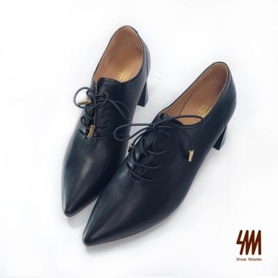 SM-韓風英倫時尚尖頭梯形鞋(時尚黑)