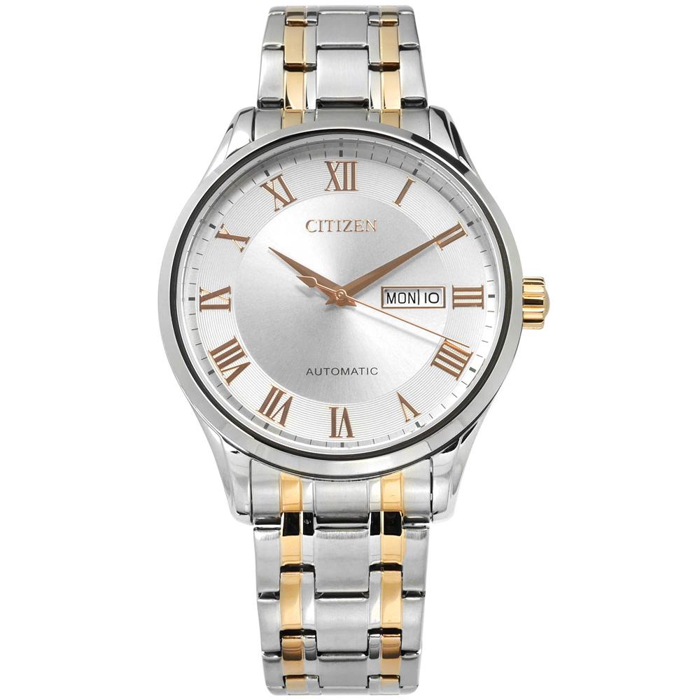 CITIZEN 機械錶 自動上鍊 日期星期 不鏽鋼手錶-銀x鍍香檳金/41mm @ Y!購物