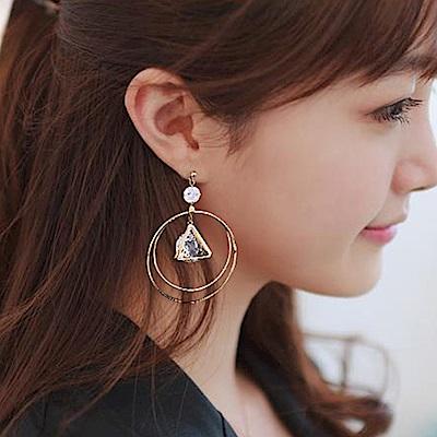 Hera 赫拉 雙層圓環鋯石耳環 針式/夾式-2款