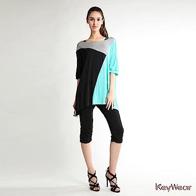 KeyWear奇威名品    區塊剪接寬鬆上衣-綜合色