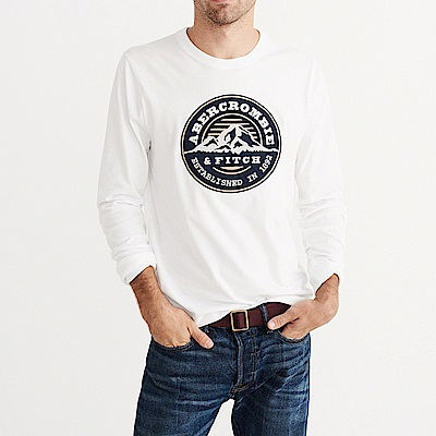 麋鹿 AF A&F 經典刺繡徽章設計長袖T恤-白色