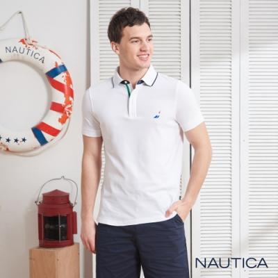 Nautica經典款撞色領短袖POLO衫-白色