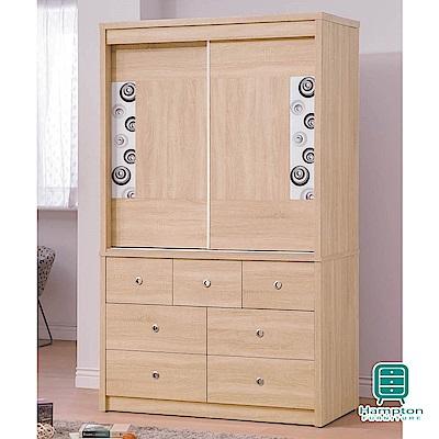漢妮Hampton穆琳系列4x7尺推門衣櫥-120x60.3x201.5cm