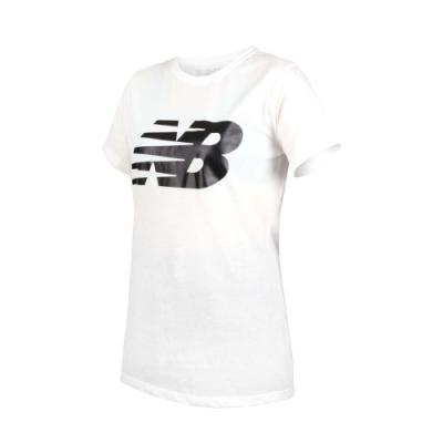 NEW BALANCE 女短袖T恤-短T 短袖上衣 慢跑 路跑 NB 白黑