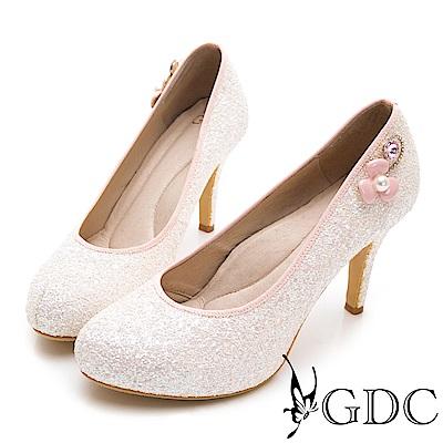 GDC-甜美水鑽小花閃亮高跟新娘鞋-粉色