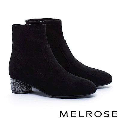 短靴 MELROSE 優雅極簡純色彈力布鑲鑽粗高跟短靴-黑