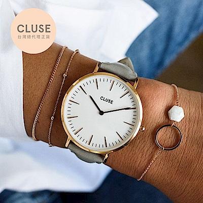 【公司貨】CLUSE La Boheme 玫瑰金系列腕錶 (玫瑰金框/白錶面/灰錶帶)