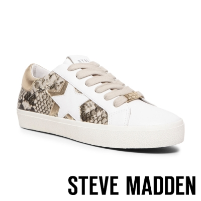 STEVE MADDEN-SIENNA 時尚蛇紋拼接星星皮質厚底休閒鞋-蛇紋咖色