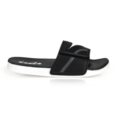 DIADORA 男 雙密度運動拖鞋 黑白灰
