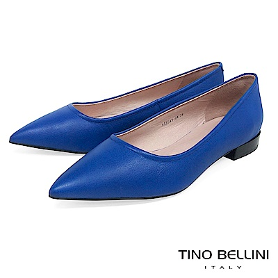 Tino Bellini 俐落簡約質感全真皮尖楦微跟包鞋 _ 藍