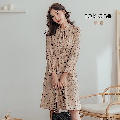 東京著衣-甜蜜氣質綁帶碎花長袖洋裝(共兩色)