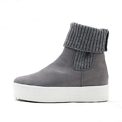 【AIRKOREA韓國空運】時尚內磨毛保暖襪套休閒懶人短靴-灰