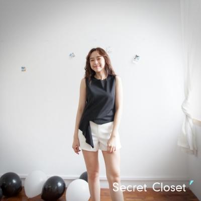 Secret Closet-斜紋不規則無袖上衣-黑色