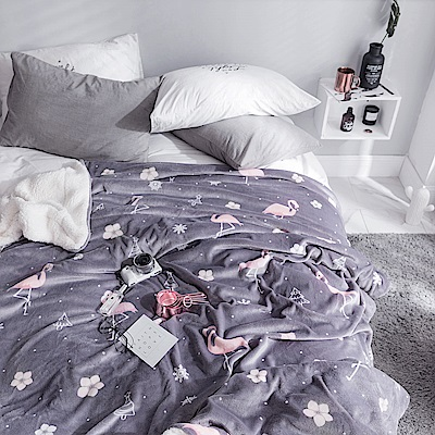 BUNNY LIFE 火烈鳥-極柔牛奶絨羊羔絨雙層保暖毯