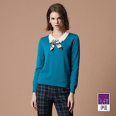 ILEY伊蕾 蝴蝶結造型配色領片針織上衣(藍)
