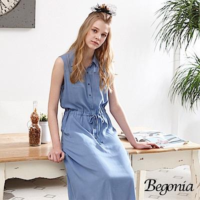 Begonia 立領無袖綁帶長洋裝(共兩色)