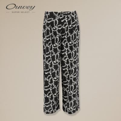OUWEY歐薇 簡約黑白印花打摺寬褲(黑)