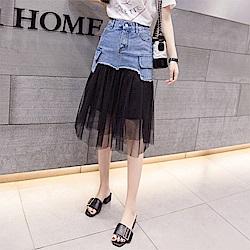 時尚潮流網紗裙襬牛仔裙S-2XL(共三色)-WHATDAY