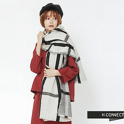 H:CONNECT 韓國品牌 - 溫暖格紋披肩圍巾-黑