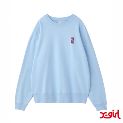 X-girl BUNNY EMBROIDERY CREW SWEAT TOP大學T-藍