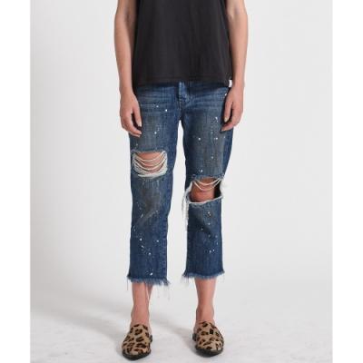 ONETEASPOON STRAIGHT LEG 藍 破損寬鬆7分牛仔褲-女