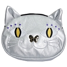 ANNA SUI 品牌摩登小貓造型LOGO化妝包(銀色)
