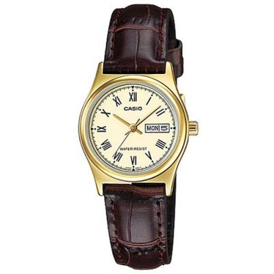 CASIO 簡約日期顯示羅馬時刻皮帶腕錶-淡黃面(LTP-V006GL-9B)/25mm