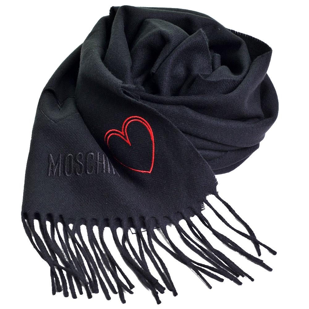 MOSCHINO 義大利製美麗諾羊毛繽紛愛心刺繡圖騰字母LOGO刺繡披肩/圍巾(黑色) @ Y!購物