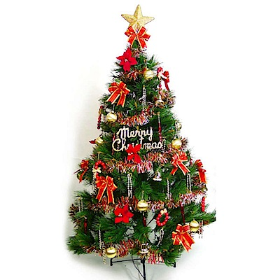 摩達客 15尺特級綠松針葉聖誕樹+紅金色系配件組(不含燈)YS-GPT015001