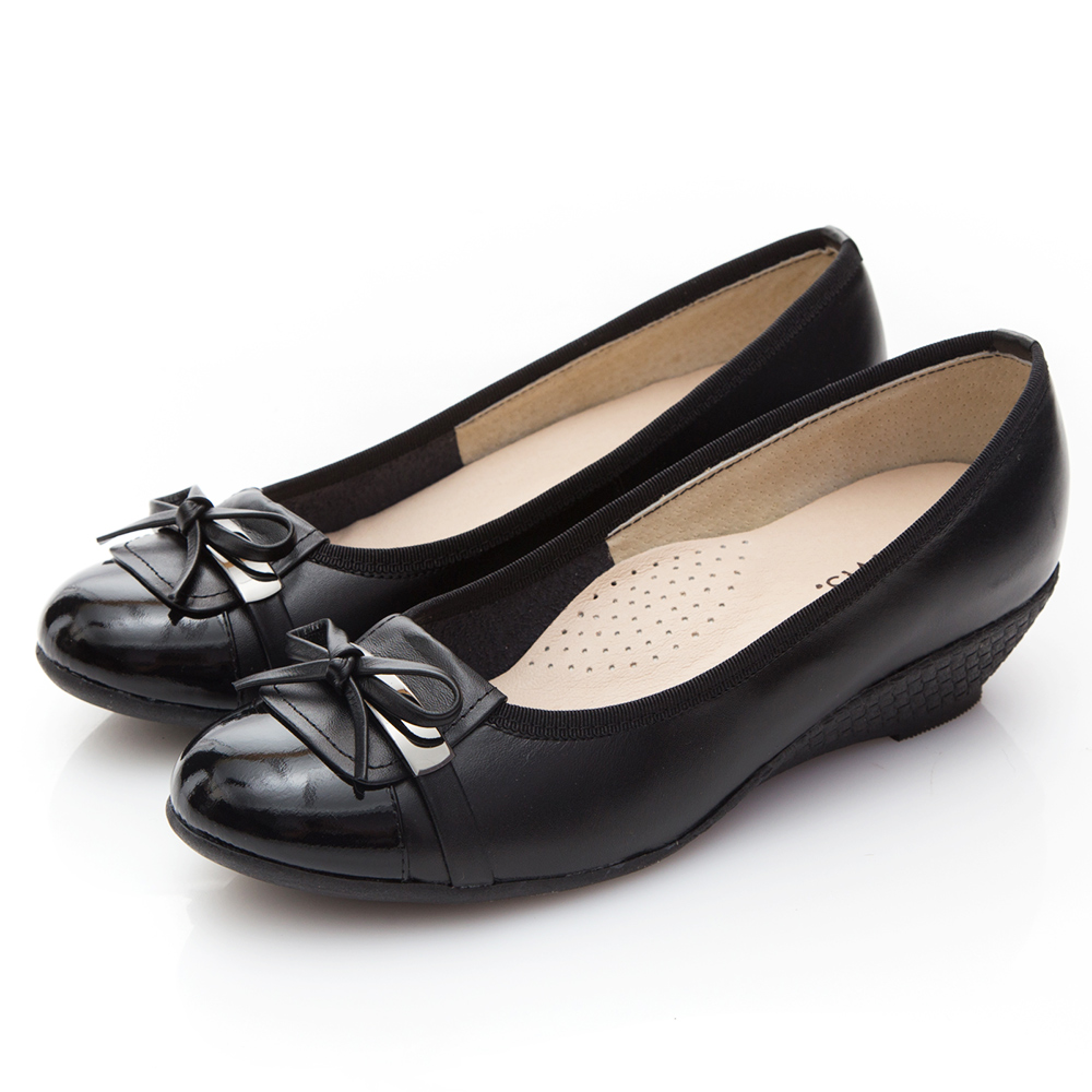 G.Ms. MIT系列-金屬蝴蝶結手工牛皮楔型跟鞋-黑色