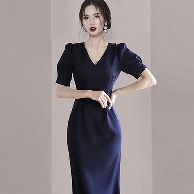 時尚摩登V領泡泡袖褶皺腰間純色氣質洋裝S-XL(共二色)-Sexy Devil