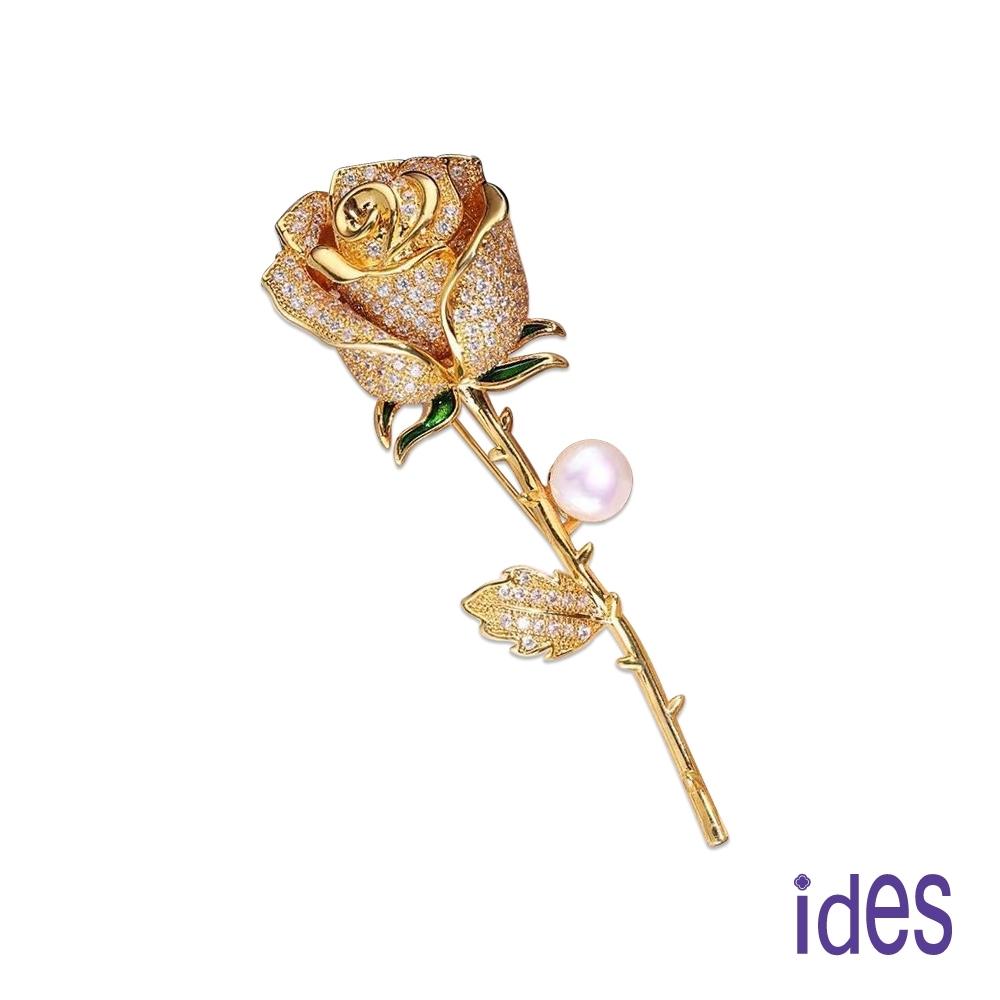 ides愛蒂思 歐美時尚設計天然淡水珍珠胸針/玫瑰
