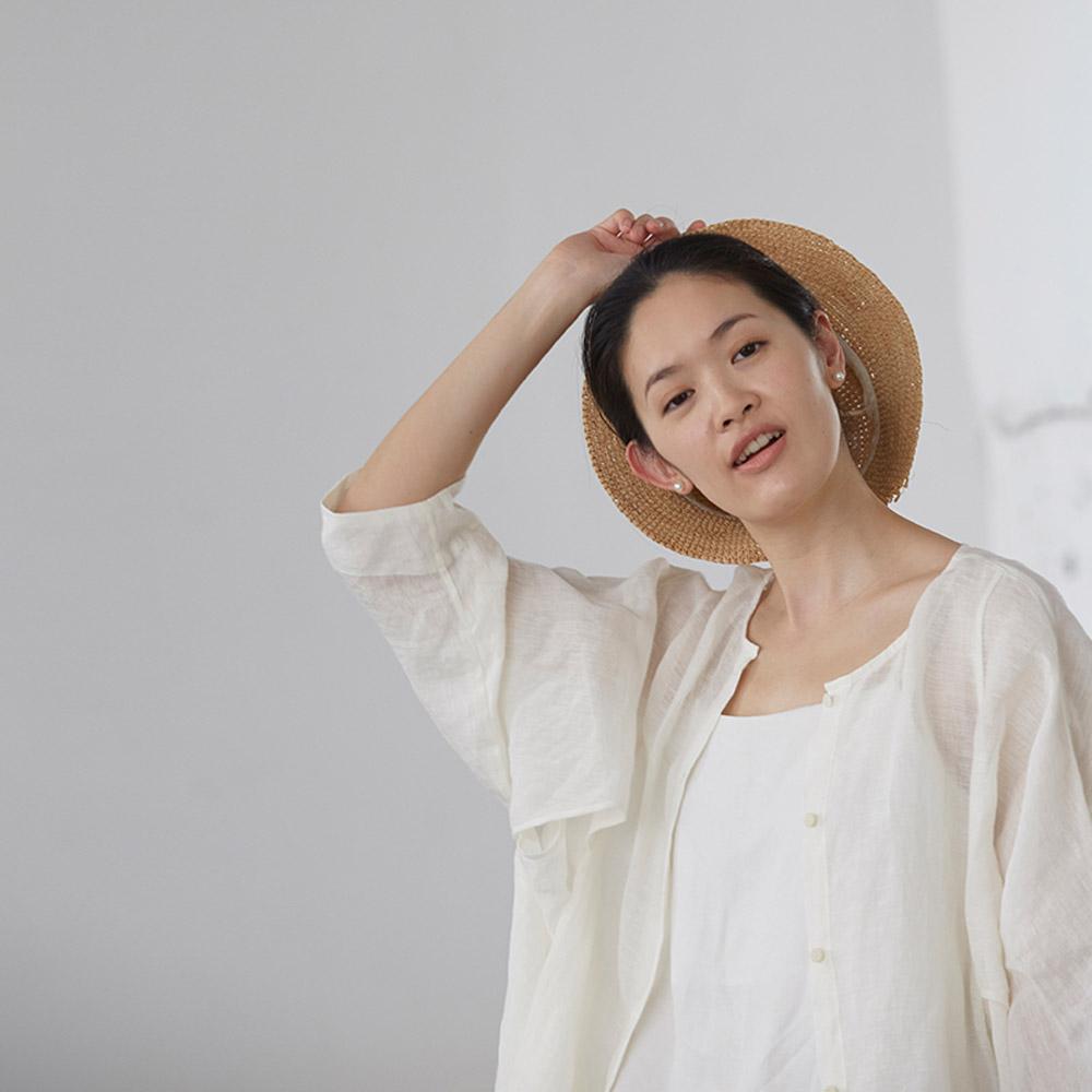 旅途原品_風輕輕吹_原創設計棉麻長款防曬衫-米白/藍